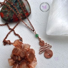 Green Aventurine Copper Xmas Tree Pendant Necklace